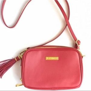 Joy & Iman Leather RFID Crossbody Handbag Red Gold Zipper